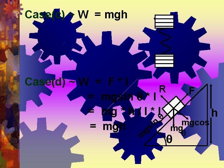 Case(c) ~ W = mgh Case(d) ~ W = F * l R =