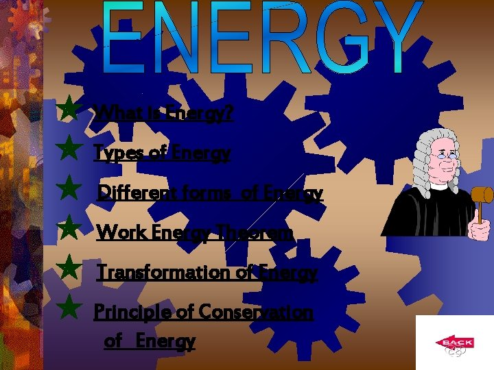 What is Energy? Types of Energy Different forms of Energy Work Energy Theorem