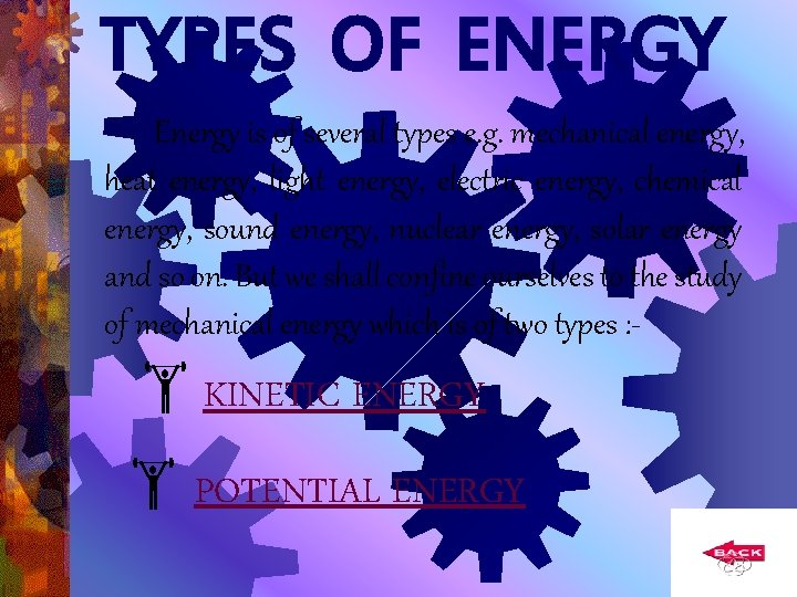 TYPES OF ENERGY Energy is of several types e. g. mechanical energy, heat energy,