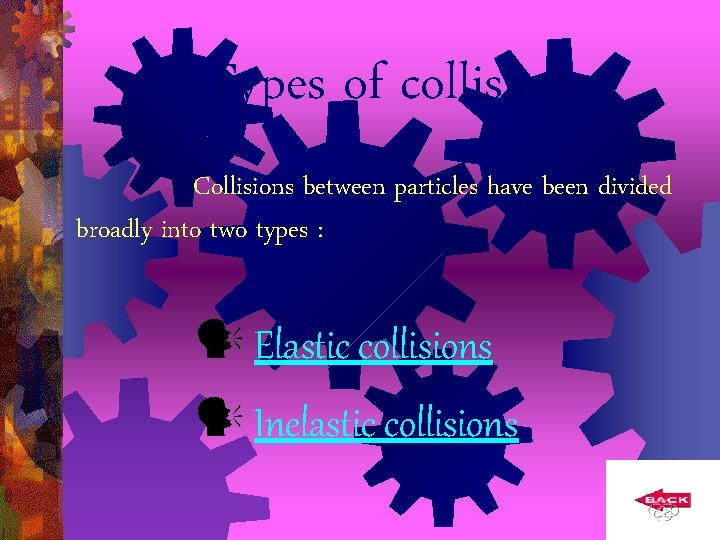Types of collision Collisions between particles have been divided broadly into two types :
