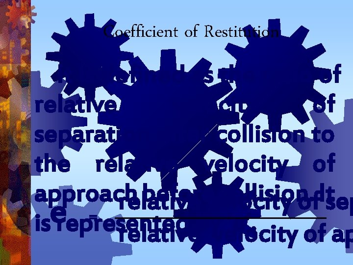 Coefficient of Restitution It is defined as the ratio of relative velocity of separation