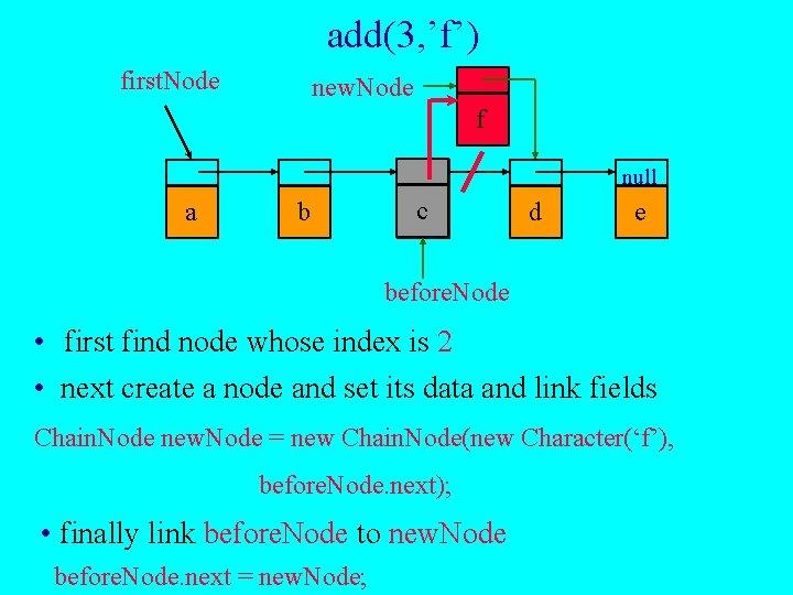 add(3, 'f') first. Node new. Node f null a b c d e before.