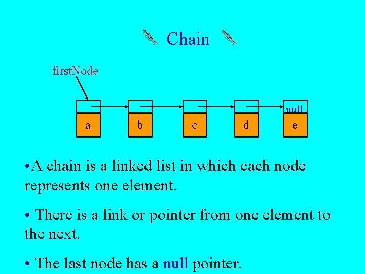 Chain first. Node null a b c d e • A chain is a