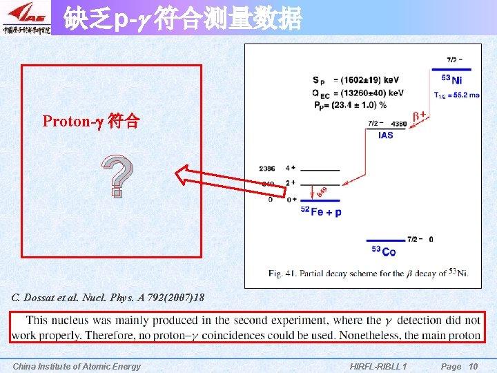 缺乏p-g 符合测量数据 Proton-g 符合 ? C. Dossat et al. Nucl. Phys. A 792(2007)18 China
