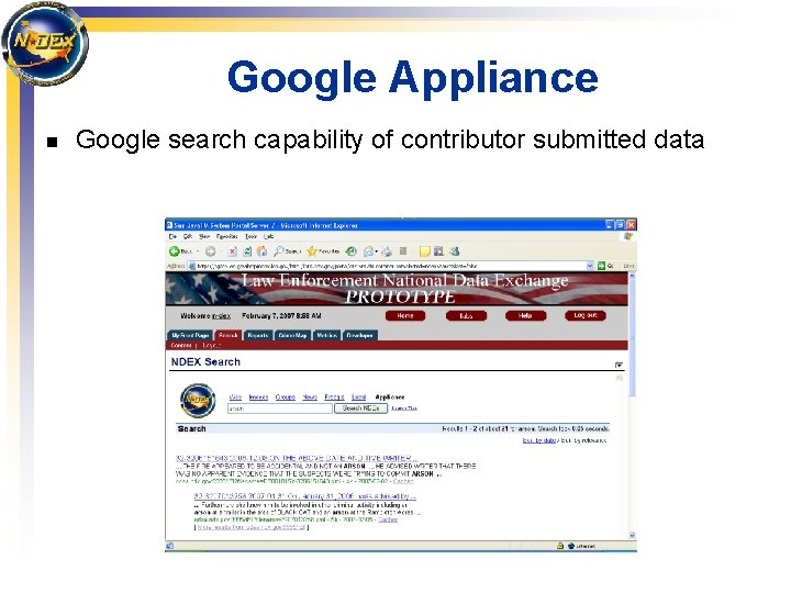 Google Appliance n Google search capability of contributor submitted data