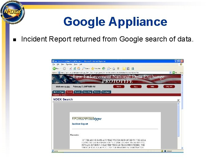 Google Appliance n Incident Report returned from Google search of data.