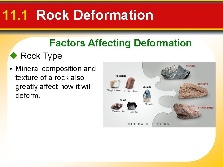 11. 1 Rock Deformation Factors Affecting Deformation Rock Type • Mineral composition and texture