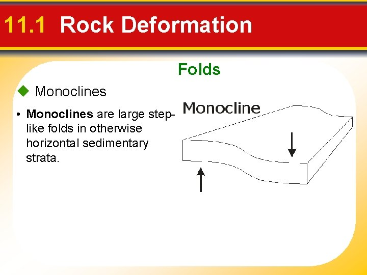 11. 1 Rock Deformation Folds Monoclines • Monoclines are large steplike folds in otherwise