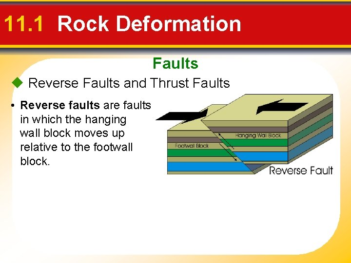 11. 1 Rock Deformation Faults Reverse Faults and Thrust Faults • Reverse faults are