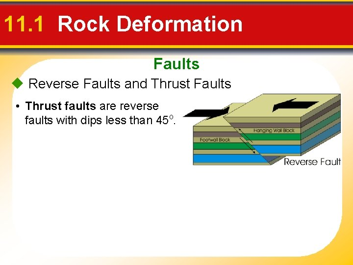 11. 1 Rock Deformation Faults Reverse Faults and Thrust Faults • Thrust faults are