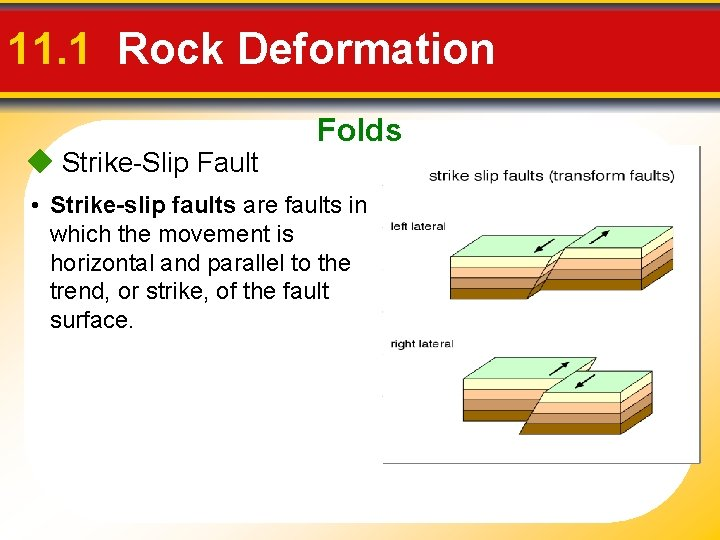 11. 1 Rock Deformation Strike-Slip Fault Folds • Strike-slip faults are faults in which
