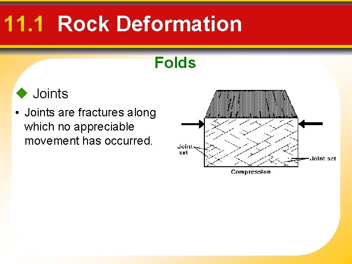 11. 1 Rock Deformation Folds Joints • Joints are fractures along which no appreciable