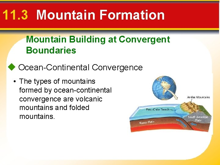 11. 3 Mountain Formation Mountain Building at Convergent Boundaries Ocean-Continental Convergence • The types