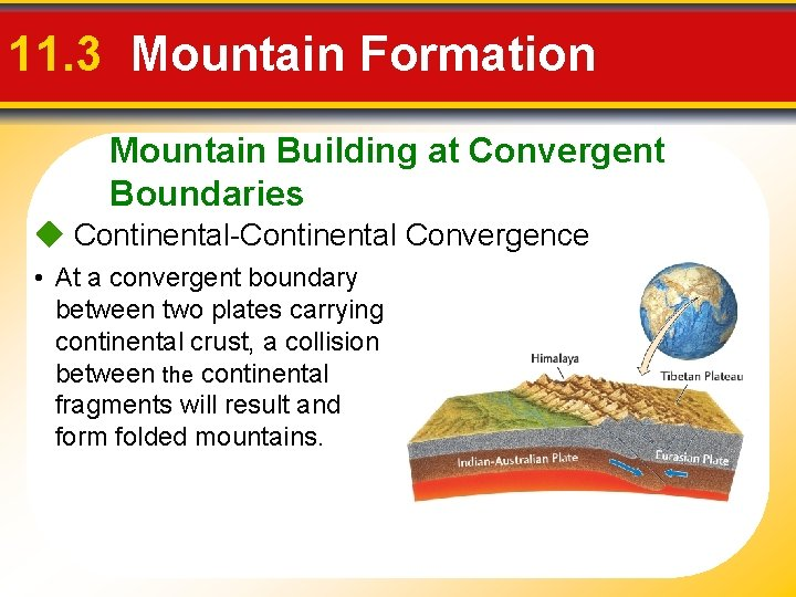 11. 3 Mountain Formation Mountain Building at Convergent Boundaries Continental-Continental Convergence • At a