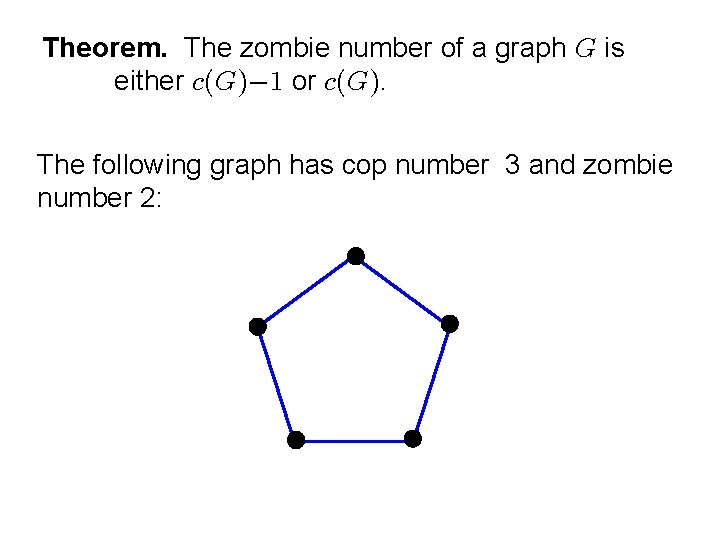 Theorem. The zombie number of a graph is either or . The following graph