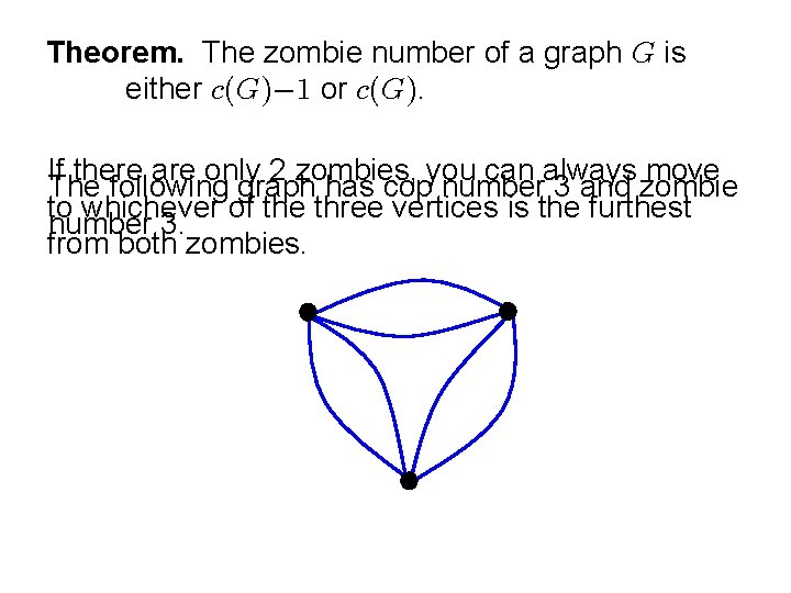 Theorem. The zombie number of a graph is either or . If there are