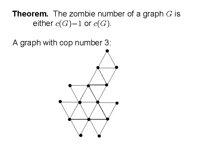Theorem. The zombie number of a graph is either or . A graph with