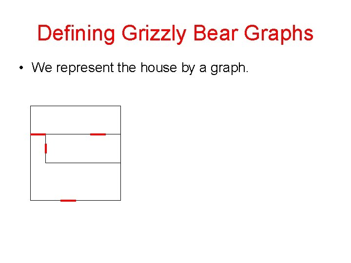 Defining Grizzly Bear Graphs • We represent the house by a graph.
