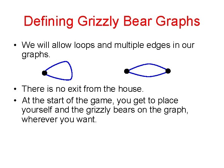 Defining Grizzly Bear Graphs • We will allow loops and multiple edges in our