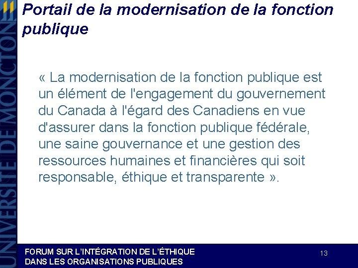 Portail de la modernisation de la fonction publique « La modernisation de la fonction