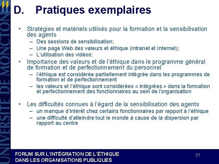D. Pratiques exemplaires • Stratégies et matériels utilisés pour la formation et la sensibilisation