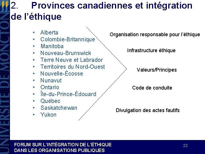2. Provinces canadiennes et intégration de l'éthique • • • • Alberta Organisation responsable