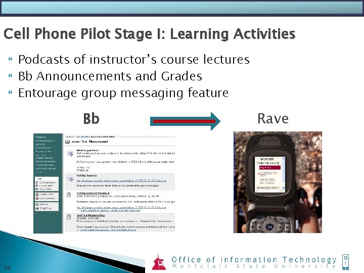 Cell Phone Pilot Stage I: Learning Activities Podcasts of instructor's course lectures Bb Announcements