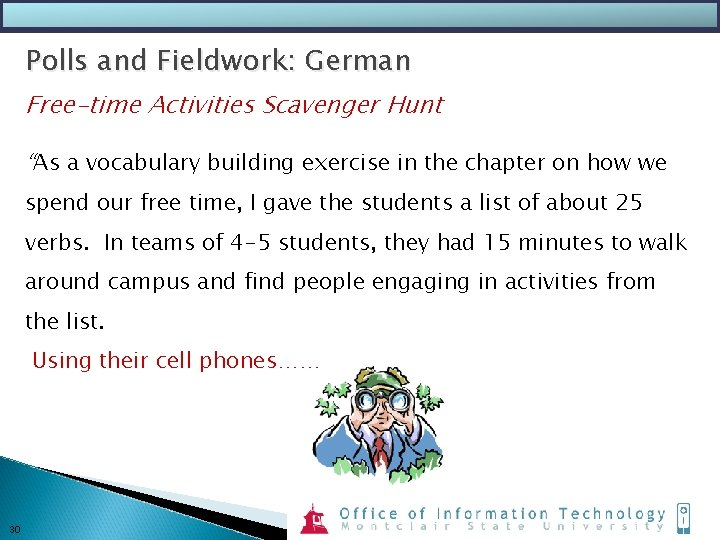 """Polls and Fieldwork: German Free-time Activities Scavenger Hunt """"As a vocabulary building exercise in"""