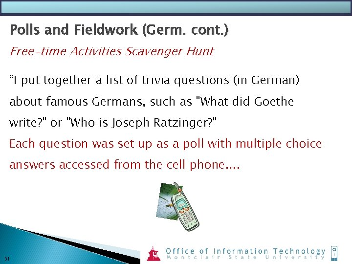 """Polls and Fieldwork (Germ. cont. ) Free-time Activities Scavenger Hunt """"I put together a"""