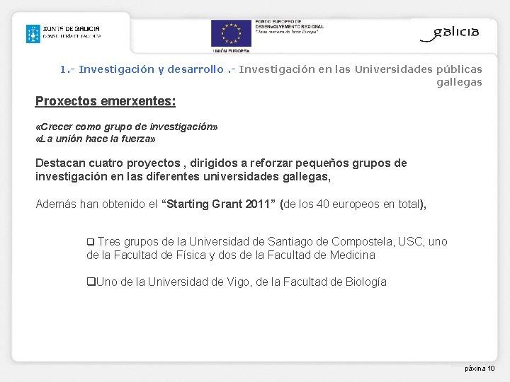 1. - Investigación y desarrollo. - Investigación en las Universidades públicas gallegas Proxectos emerxentes: