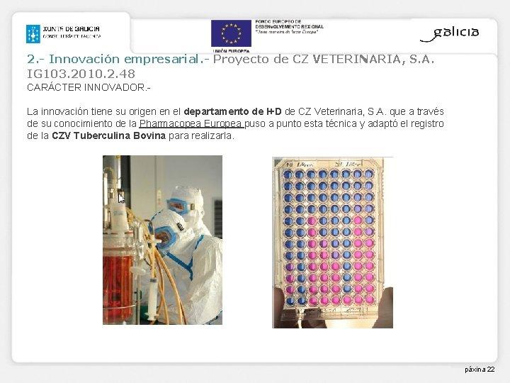 2. - Innovación empresarial. - Proyecto de CZ VETERINARIA, S. A. IG 103. 2010.