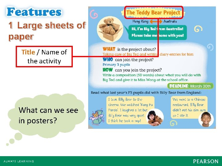 1 Large sheets of paper Title / Name of the activity What can we