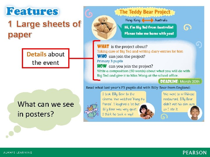 1 Large sheets of paper Details about the event What can we see in