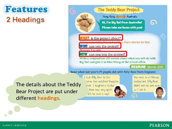 2 Headings The details about the Teddy Bear Project are put under different headings.