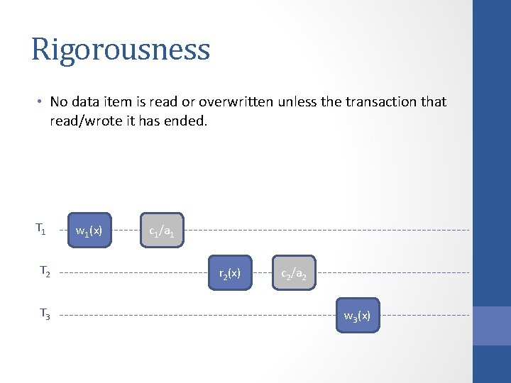 Rigorousness • No data item is read or overwritten unless the transaction that read/wrote