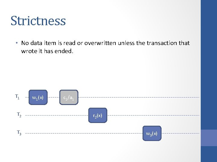 Strictness • No data item is read or overwritten unless the transaction that wrote