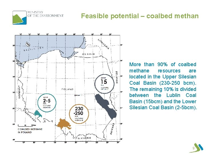 Feasible potential – coalbed methan More than 90% of coalbed methane resources are located