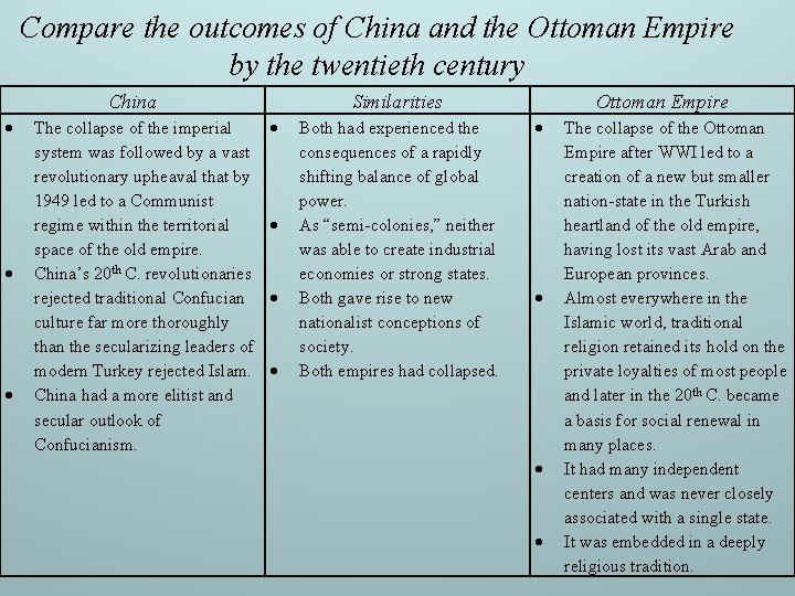Compare the outcomes of China and the Ottoman Empire by the twentieth century China