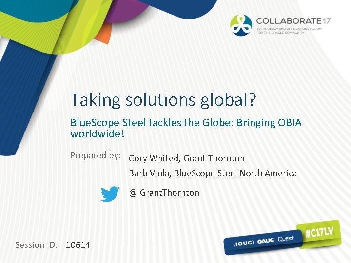 Taking solutions global? Blue. Scope Steel tackles the Globe: Bringing OBIA worldwide! Prepared by:
