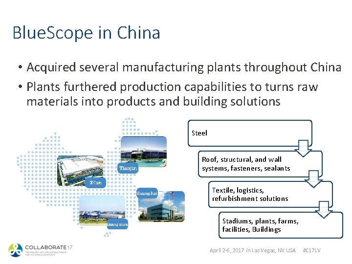 Blue. Scope in China • Acquired several manufacturing plants throughout China • Plants furthered