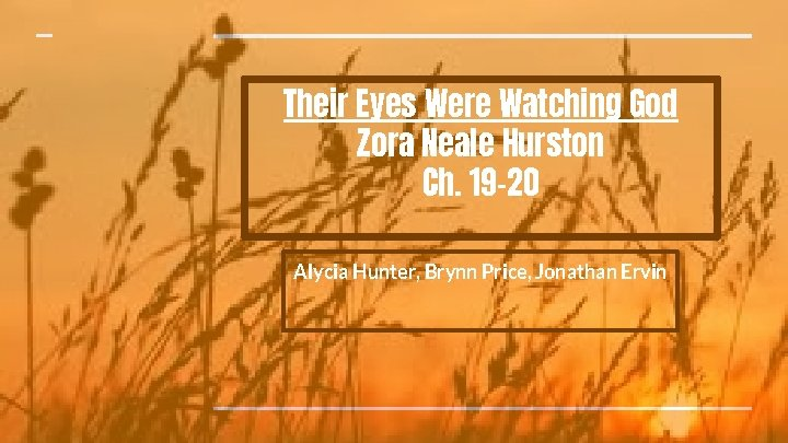Their Eyes Were Watching God Zora Neale Hurston Ch. 19 -20 Alycia Hunter, Brynn