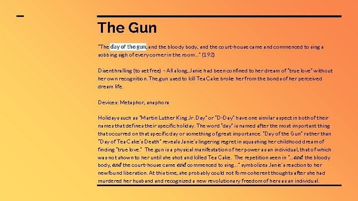 """The Gun """"The day of the gun, and the bloody body, and the court-house"""