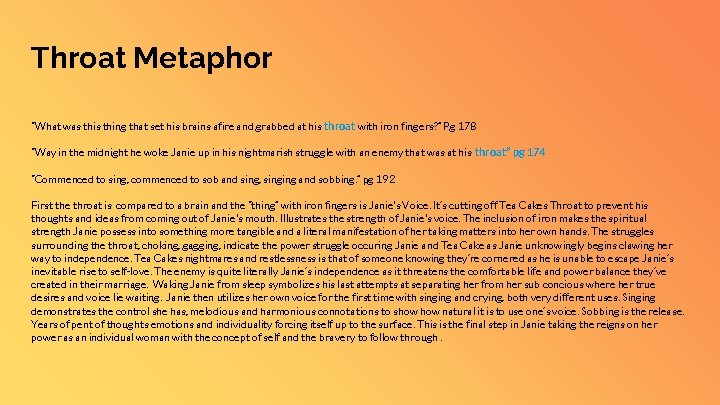"""Throat Metaphor """"What was thing that set his brains afire and grabbed at his"""
