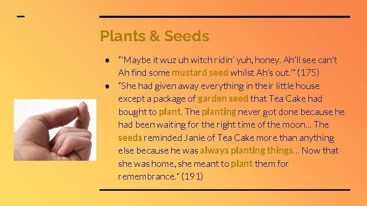 """Plants & Seeds ● """"'Maybe it wuz uh witch ridin' yuh, honey. Ah'll see"""