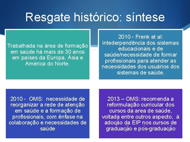Resgate histórico: síntese Trabalhada na área de formação em saúde há mais de 30