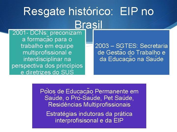 Resgate histórico: EIP no Brasil 2001 - DCNs: preconizam a formac a o para