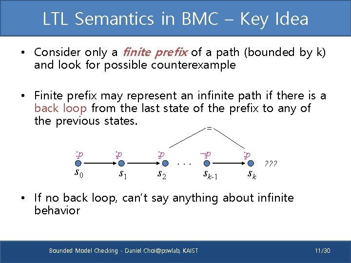 LTL Semantics in BMC – Key Idea • Consider only a finite prefix of