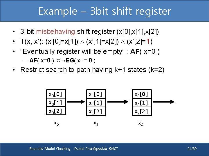 Example – 3 bit shift register • 3 -bit misbehaving shift register (x[0], x[1],
