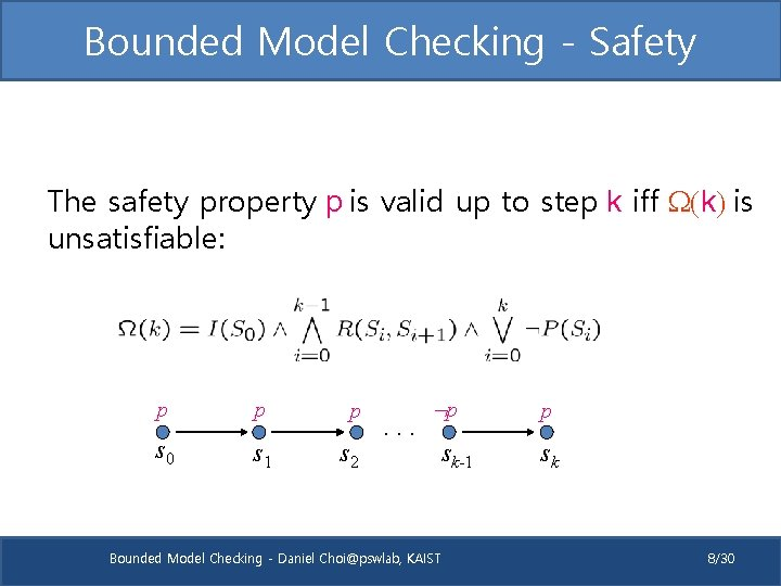Bounded Model Checking - Safety The safety property p is valid up to step