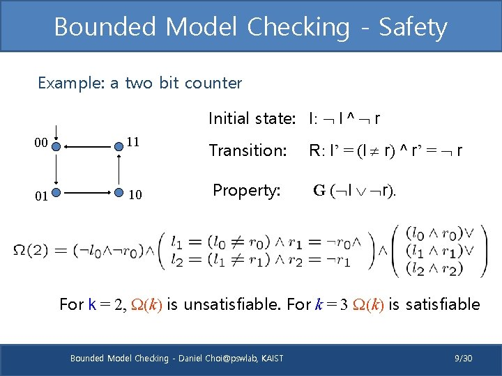 Bounded Model Checking - Safety Example: a two bit counter Initial state: I: l